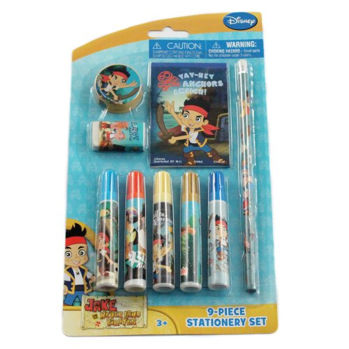 9pc Jake and the Never Land Pirates Kids Stationery Set w/ Pencil Markers & Notepad