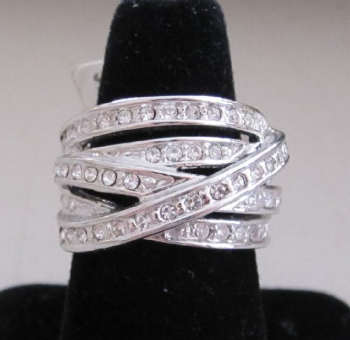 Ladies Cross Over Band Ring with Crystals: Size 7 Silver Tone Plated