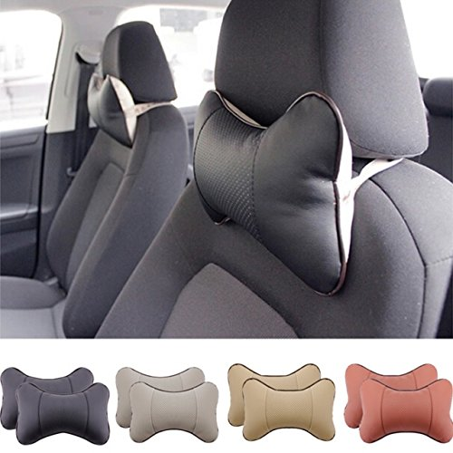 2 Piece Car Seat Leather Headrest Neck Pillow Dog Bone Shape Rest Cushion (BLACK) (2001 Tahoe Leather Seat Covers compare prices)