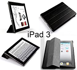 Invision® New iPad 3 & iPad 4 (with Retina Display) Case - Front & Back Protection Smart Cover With Magnetic Auto Wake & Sleep Function - Full Grade Leather (PU) with Smooth Satin Inner Cloth - Premium Quality with Superior Design Features - Number One Brand for Compatible Cases & Covers (BLACK)