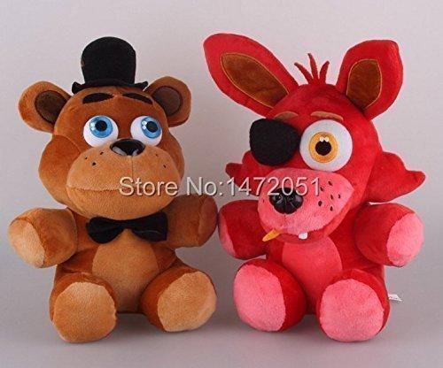 New Brand Freddy and Foxy Fazbear Plush Toy (10 Inch) with 4pcs Foxy Chica Bonnie Freddy Action Figures (7cm)