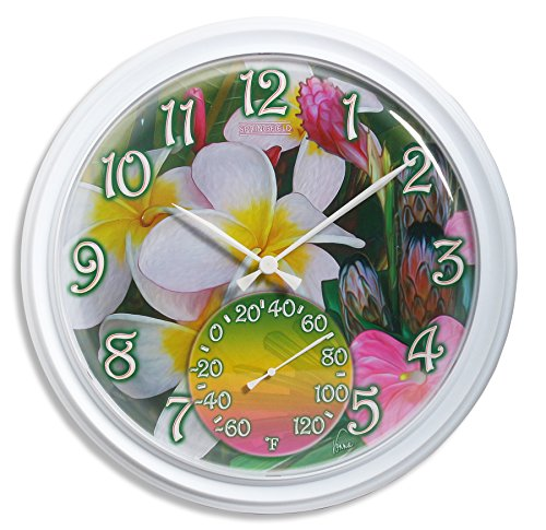 Springfield Clock with Thermometer (Tropical Flowers)
