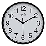 "Hippih 10"" Silent Quartz Decorative Wall Clock Non-ticking Digital(Black)"