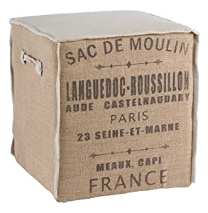 French Country Burlap Sac de Moulin Accent Cube Ottoman