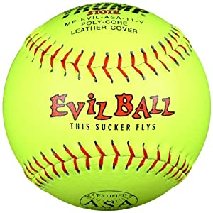 Trump MP-EVIL-ASA-Y Evil Sports Red Stitch Yellow Leather ASA Softball