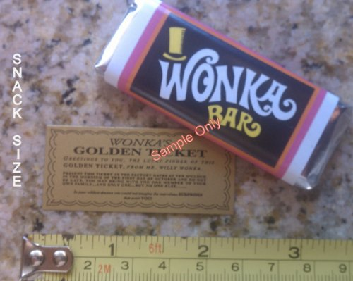 Wonkamania Snack sized Willy Wonka chocolate bar wrappers & Golden Tickets (Golden Ticket compare prices)