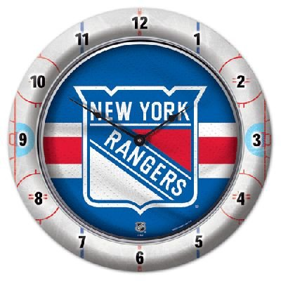 Roundclock New York Rangers 10 Inch Round Game Time Clock National Hockey League Hokey Nhl Sport Team University College Fan Accessories