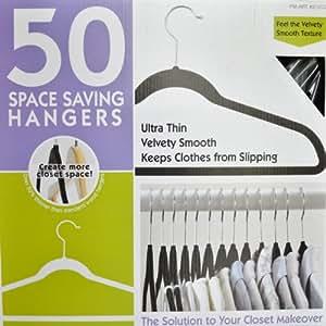 50 Ultra Thin Velvety Smooth Space Saving Hangers (Black)