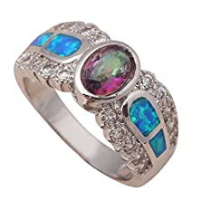 buy Bling Jewellry Engagement Rings For Lover Blue Fire Opal 925 Silver Rings Rainbow Topaz Usa Size #6 #7 #8 #9 Or641A