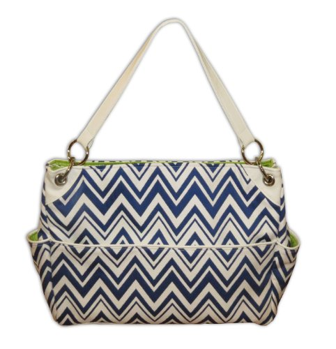 Caught Ya Lookin' Chevron Chic Diaper Bag, Blue and White