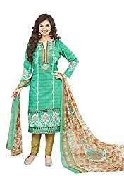 Adorn Mania Navy blue Cambric Print CAMBRIC PRINT WITH EMBROIDERY salwar Suits Dress Material