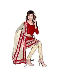 Fabfirki Red Heavy Velvet Churidar Salwar Suit