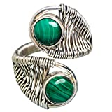 Malachite, Malachite Argent Sterling 925 Bague 8 Adjustable