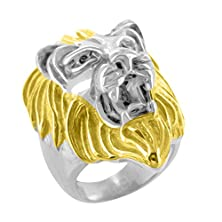 buy Lion Face Ring White Yellow Gold Finish 2 Tone Stainless Steel Mens Vintage