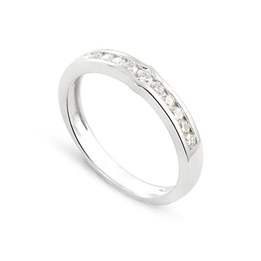 Tous mes bijoux Women 9 k (375) White Gold Round Diamond Rings