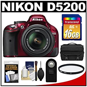 Nikon D5200 Digital SLR Camera & 18-55mm G VR DX AF-S Zoom Lens (Red) with 16GB Card + Case + Filter + Remote + Accessory Kit
