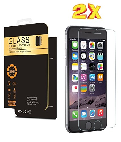 (2 Pack) IPhone 6s Screen Protector, Premium Tempered Glass 9H Anti Scratch Crystal Clear Screen Protector Film for Apple iPhone 6 and iPhone 6s 4.7 (Cell Phone Screen Covers compare prices)