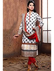 Utsav Fashion Women's White Cotton Readymade Churidar Kameez-Medium