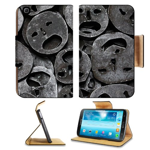 Metal Mask Iron Cut Out Samsung Galaxy Tab 3 8.0 Flip Case Stand Magnetic Cover Open Ports Customized Made To Order Support Ready Premium Deluxe Pu Leather 8 7/16 Inch (215Mm) X 5 6/8 Inch (145Mm) X 11/16 Inch (17Mm) Luxlady Galaxy Tab3 Cases Tab_8.0 Thre front-569598