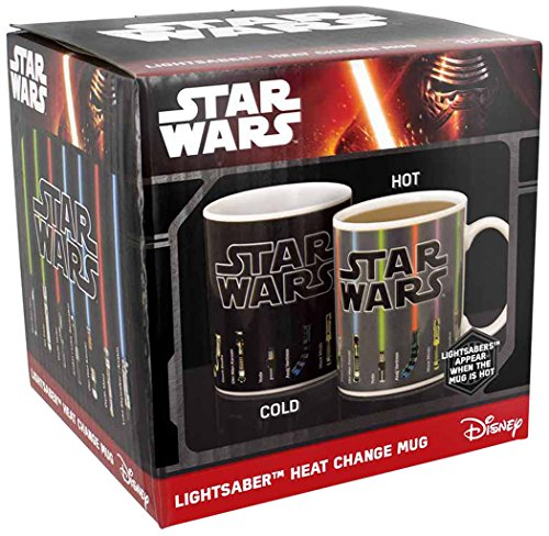 Official Star Wars Lightsaber Heat Change Mug by Disney. Fill with a hot drink and watch the lightsabers change colour!