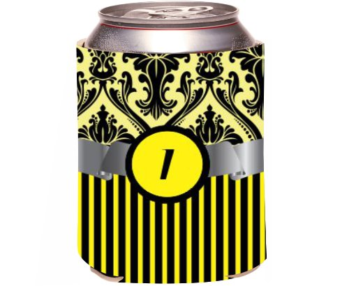 "Rikki Knight Beer Can Soda Drinks Cooler Koozie, Letter ""I"" Initial Monogrammed Design, Damask And Stripes, Yellow front-644096"