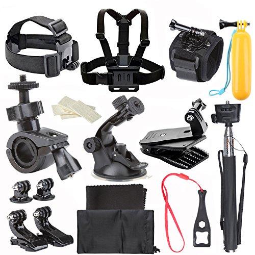 ccbetter 27 in 1 Sport Action Kamera Zubehör für GoPro Hero 4 Session Hero 1 2 3 3 + SJ4000 SJ5000 in Fahrrad, Schwimmen,Fußball, Surfen, Klettern, Fallschirmspringen und so weiter schwarz