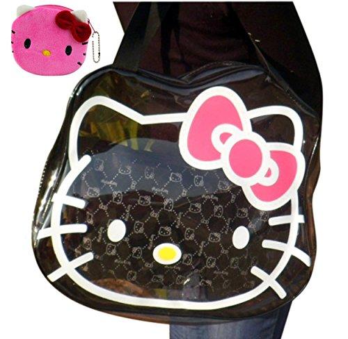 2014 New Hello Kitty Roomy Travel Bag Carry Holdall Handbag (Black)