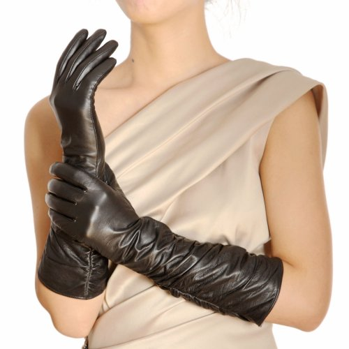 Warmen Stylish Leather Ruched Elbow Length Long Evening Dress Gloves (L, Black)