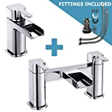 Waterfall Bathroom tap set - D Shaped Waterfall Basin Mixer including waste and fittings and Bath Filler