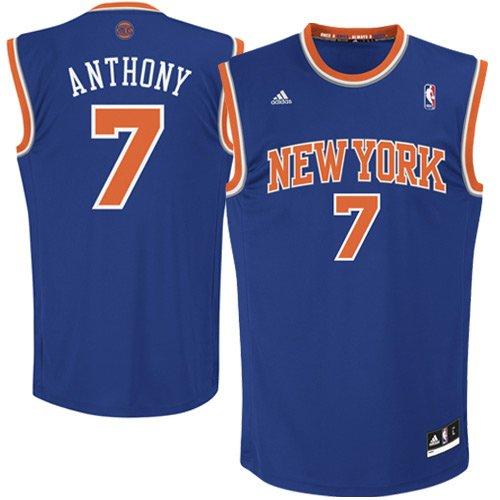 NBA New York Knicks Carmelo Anthony Replica Road Youth Jersey Royal Medium