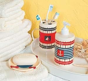 excellent nautical bathroom accessories | Nautical Bathroom Accessories - Bathroom Decor: Amazon.co ...