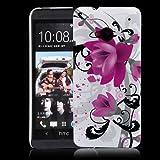 HTC One (M7 - neu smartphone 2013) Hülle Weiß / Lila / Schwarz Hülle Blume Muster Lila. Schutzhülle Hardcase (Harte Rückseite) Hülle für HTC One (NICHT HTC One X X+ S SV V etc.)