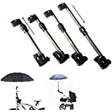 Oumers Universal Bike Baby Buggy Pram Umbrella Bar Holder Mount Frame Connector, Adjustable Stainless Bicycle Stroller Chair Sunny Rain Umbrella No Hands Handle For Wheelchair Chair MTB Motorcycle