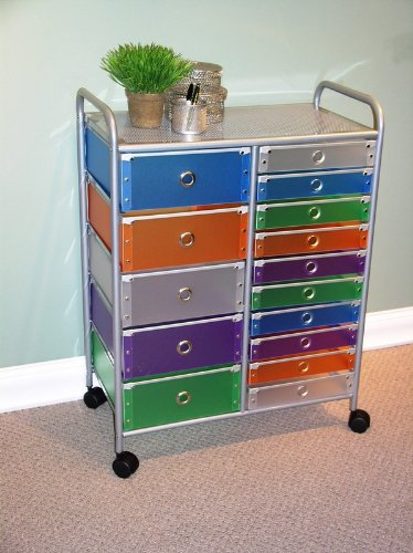 4D Concepts 27-Inch 15-Drawer Rolling Storage, Multi Color-Drawers front-934610