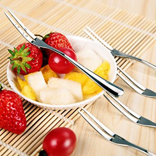 EQLEF® 3Pcs en acier inoxydable Fruit Fork Deux Tooth Dessert Fork Bistro Appetizer Forks Cocktail