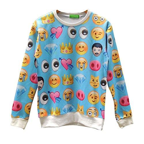 Voglee Emoji Printing Pretty Sweatpants Joggers Sweatshirt Pants