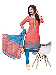 RK Fashion Womens Cotton Un-Stitched Salwar Suit Dupatta Material ( RAJGURU-PAHELI-9280-Pink-Free Size )