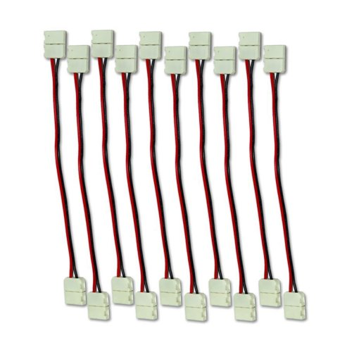 Zitrades 10X 10Mm Wide Dual End Connector 2-Conductor Cable, Any Angle Twistable Wire For Led Single Color Strip Light By Zitrades
