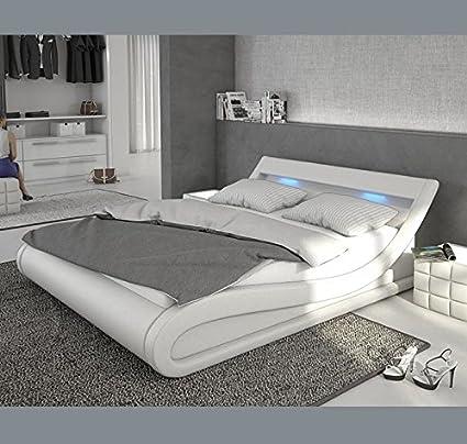 Letti e Mobili - Letto di disegno Carol in color bianco con LED 160x200