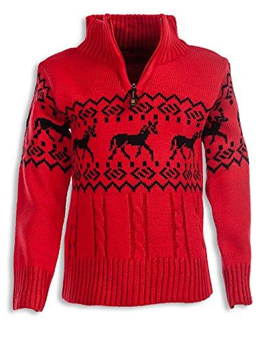 24brands Kinder Jungen Pullover Rentier Pulli Strickpullover Troyer Norweger Sweater Stehkragen mit Reissverschluss 3104