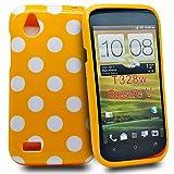 Accessory Master Silicone Case for HTC Desire X Polka Dot Design Orange / White