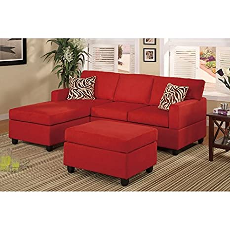 Boss Furniture F7668 Red Microfiber Upholstered Sectional Sofa With Chaise And Ottoman