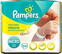Pampers New Baby Size 0 (Micro) Carry Pack 24 x 2 Total 48 Nappies
