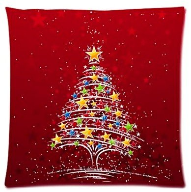 Abchomes Happy Santa Claus Festival Merry Christmas Pillowcase Zippered Pillow Case 18X18 Cotton Standard Size (Twin Sides)