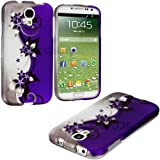 myLife (TM) White + Purple Sparkly Floral Series (2 Piece Snap On) Hardshell Plates Case for the Samsung Galaxy... by myLife Brand Products