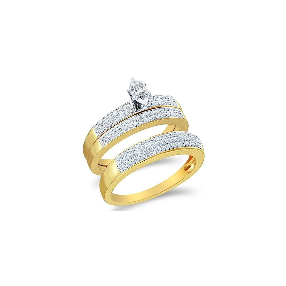 """14k White and Yellow Two Tone Gold Mens and Ladies Couple His & Hers Trio 3 Three Ring Bridal Matching Engagement Wedding Ring Band Set   Marquise and Round Diamonds   Solitaire Center Setting w/ Channel Set Side Stones (1/2 cttw) SEE """"PRODUCT DES"""