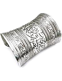 Mehrunnisa Silver Tone Cuff Bracelet For Women (JWL788)