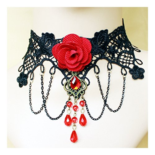 Red Flower Rose Beads Popular Girl Gothic Lolita Black Lace Collar Choker Necklace