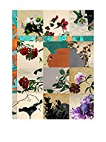 Special Wood Panel Decorativo Stampa Collage Flowers Multicolor