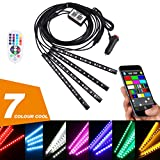 PROAUTO Interior Decorative LED Flexible Strips Accent RGB Light Kit with Bluetooth Control for all car